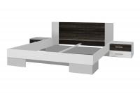 Łóżko ze stolikami 180 i opcją szuflad Vera 82 Biały/Orzech czarny białe łóżko