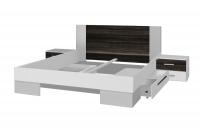 Łóżko ze stolikami 180 i opcją szuflad Vera 82 Biały/Orzech czarny łóżko 180 x 200