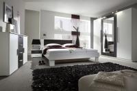 Łóżko ze stolikami 180 i opcją szuflad Vera 82 Biały/Orzech czarny sypialnia vera