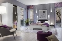 Łóżko ze stolikami 180 i opcją szuflad Vera 82 Biały/Orzech czarny zestaw z łóżkiem