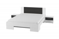 Łóżko ze stolikami 180 i opcją szuflad Vera 82 Biały/Orzech czarny łóżko z materacem