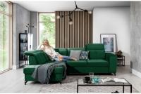 Narożnik z funkcją spania Belavio L zielony narożnik o nowoczesnej formie