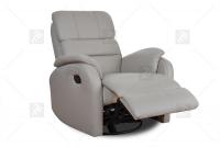 Rozkładany Fotel Amber z funkcją Relax - Tkanina szary fotel z przeszyciami w skórze