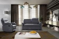 Rozkładany Fotel Amber z funkcją Relax - Tkanina Komplet Amber Relax Skóra + Eco Grafit