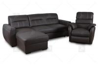Rozkładany Fotel Amber z funkcją Relax - Tkanina skórzany komplet z miękkim siedziskiem