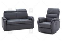Rozkładany Fotel Amber z funkcją Relax - Tkanina fotel z zagłówkami na oparciu