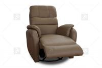 Rozkładany Fotel Amber z funkcją Relax - Tkanina fotel z brązową tapicerką
