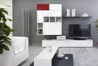 Skrinka Briks TV2 - Biela/Biely lesk - výpredaj  Obývacia izba