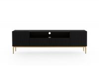 Szafka RTV Nicole 200 cm z wnęką - czarny mat / złote nóżki szafka rtv