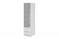 Witryna jednodrzwiowa Helio 05 Biały - białe szkło  witryna stojąca