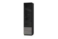 Witryna jednodrzwiowa Helio 05 Czarny - szare szkło  witryna stojąca